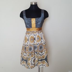 Anthropologie Size 2 Dress Bow/Arrow Canary Button